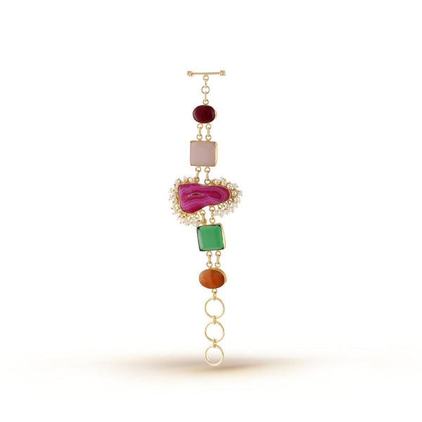 Multicoloured Pearl Showered Lock Bracelet