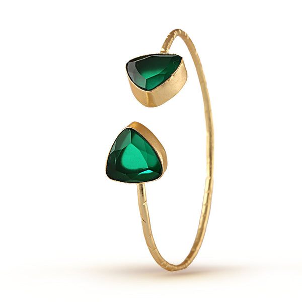Emerald Green and Gold Semicircular Bracelet