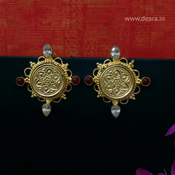 Golden Floral Embossed Circlet Drop Earring