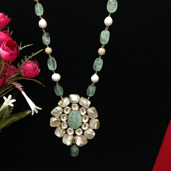 Fabulous Fern Green Gemstones With Pearls And Kundan Necklace