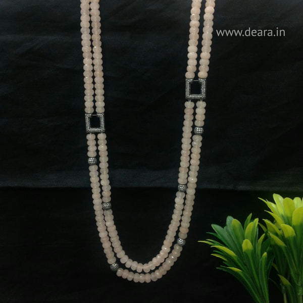 Beauticious Baby Pink Gemstones With Square Crystal Necklace