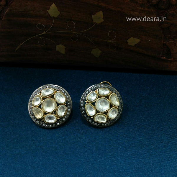 Black Diamond Ring Stud Earrings