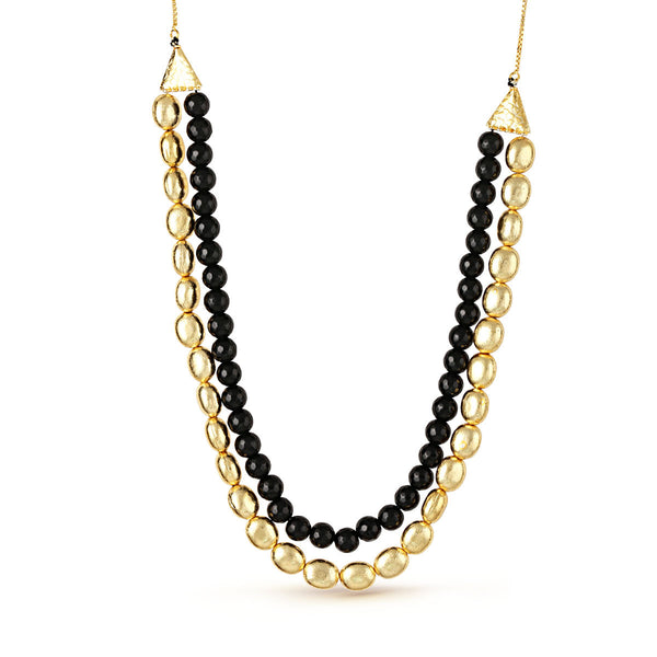 Two Stranded Black And Gold Beaded Necklace