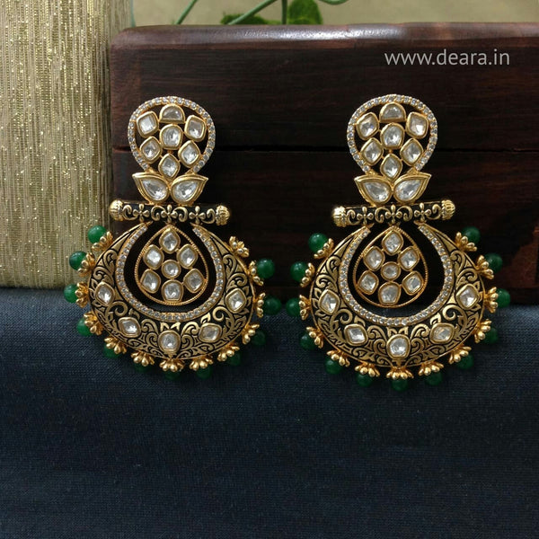 Graceful Green Kundan Chandbali Earrings