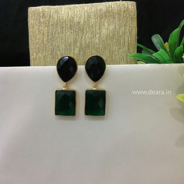 Hunter green Rectangle drop earrings