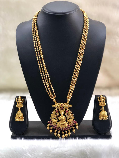 Goddess Lakshmi Golden Beaded Necklace Set