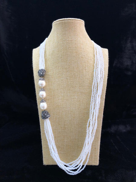 Alice Blue & Pearls Necklace