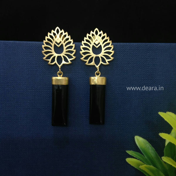 Golden Dentate Leaf Stud Dangler Earrings