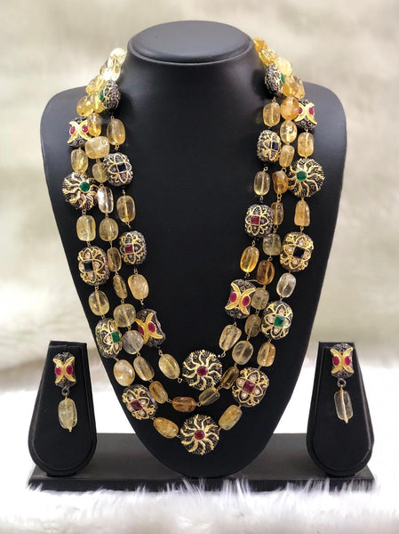 Splendid Yellow Intriguing Gemstones Necklace Set