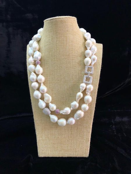 Fascinating Baroque Pearls and Crystal Squares Necklace
