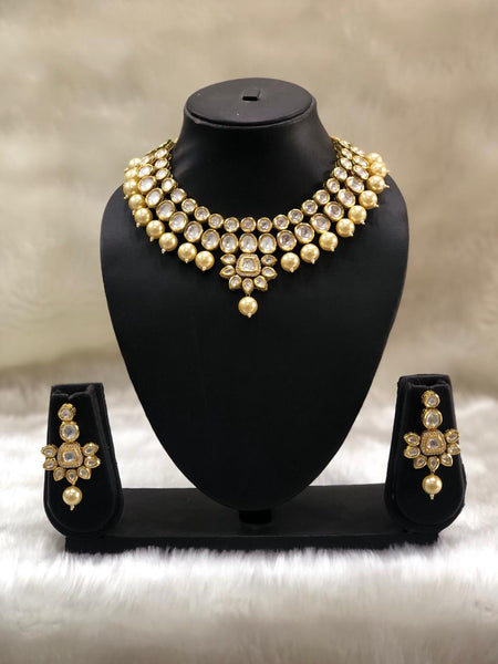 Exquisite Golden Pearls in Kundan Choker Necklace Set