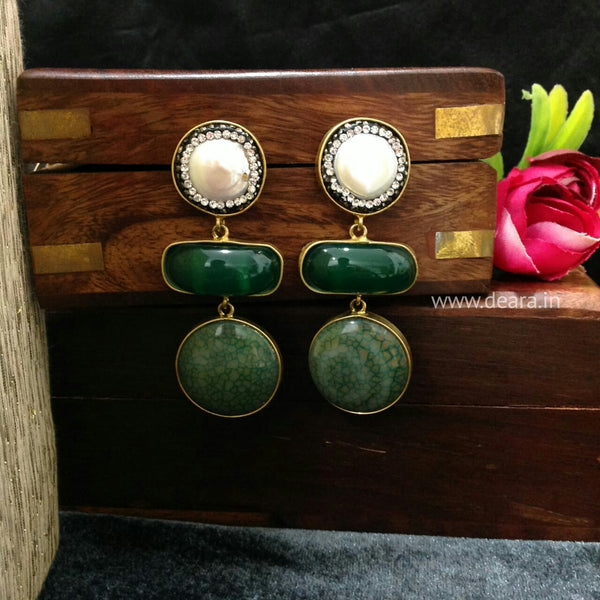 Elegant Emerald Green Gemstones Pearl Long Earrings