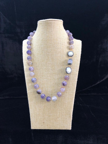 Lilac Purple Gemstones Pearls and Crystals Necklace