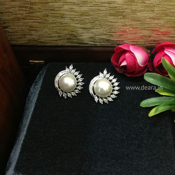Pleasing Pearl In Crystal Stud Earrings