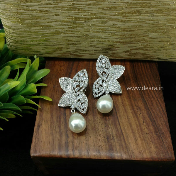 Magnificent Butterfly Crystal And Pearls Damsel Drop Earrings