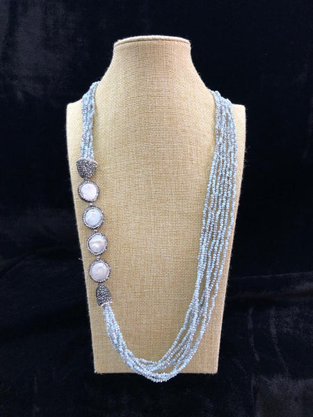 Robin Egg Bluish Grey & Pearls Necklace