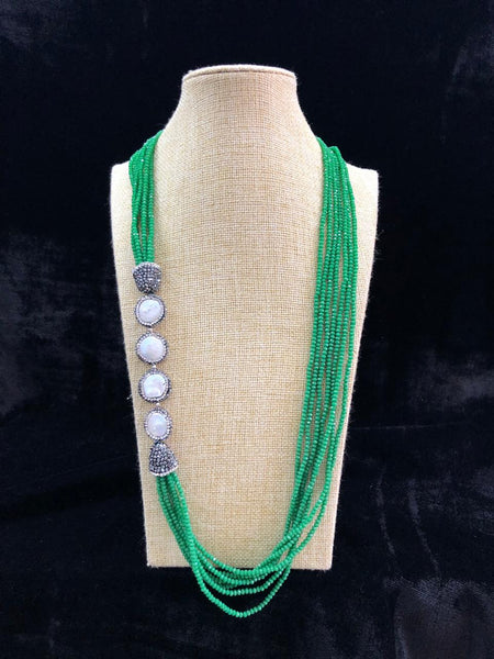 Forest in a Bottle Green & Pearls Necklace