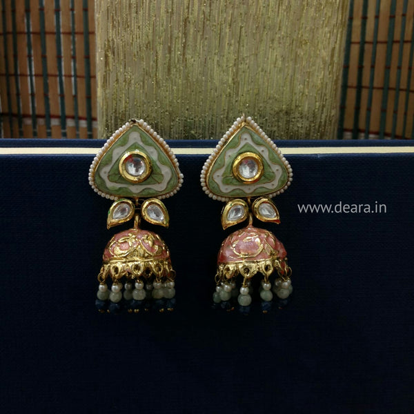Splendid Meena and Kundan Earrings
