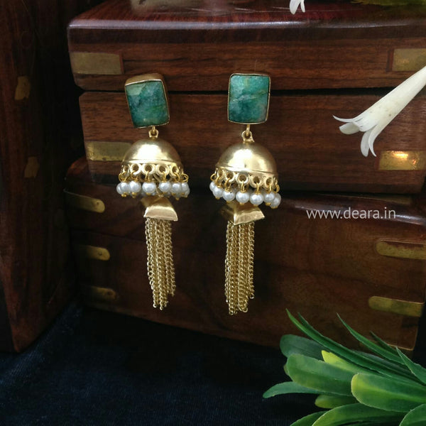 Emerald Green Golden Dressy Jhumka Long Earrings