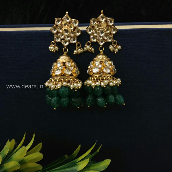 Lustrous Kundan Green Jhumka Long Earrings