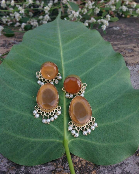 Caramel Brown and apricot orange Gemstone Dangler Earrings