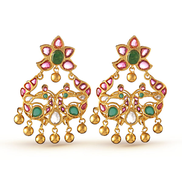 Peacock Chandbaali Drop Earrings