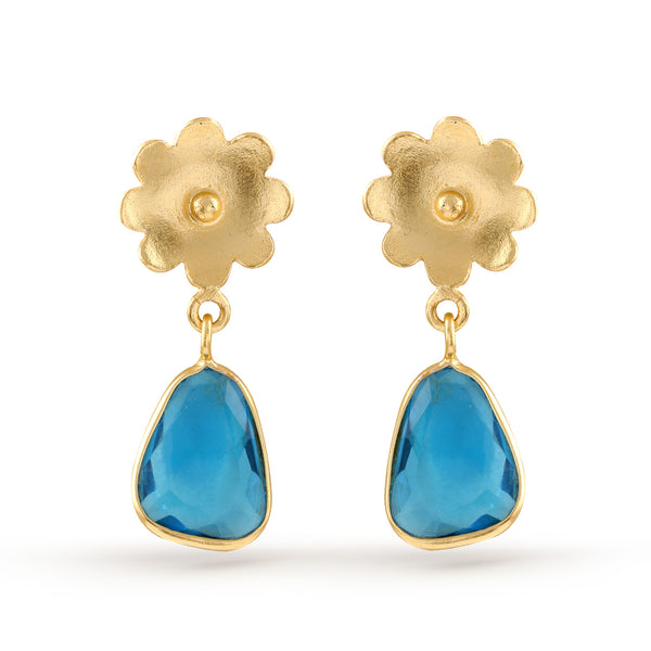 Flower gold plated transparent Blue Marble finished Earrings