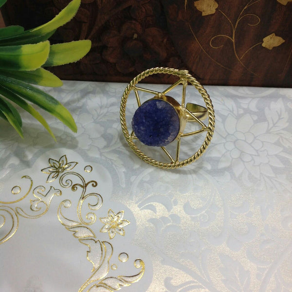 Blue Agate Druzy Ring