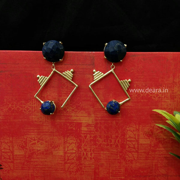 Splendid Prussian Blue & Golden Earrings