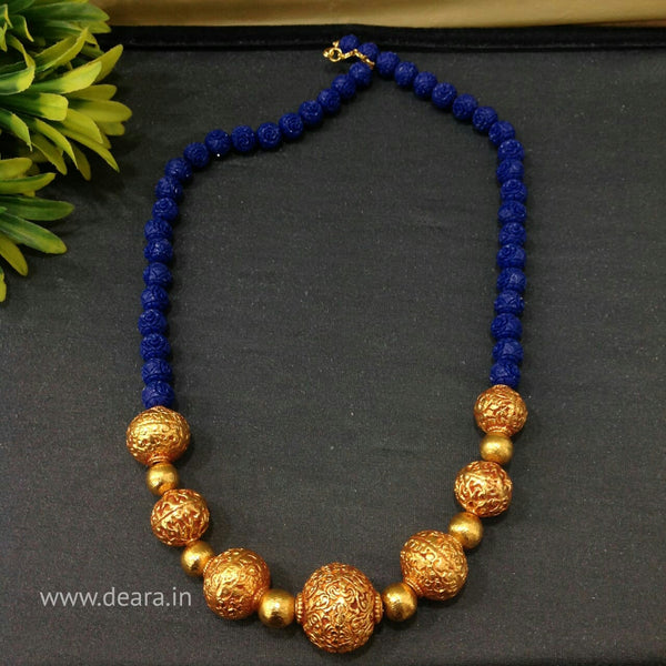 Beauticious Blue Synthetic Beads With Golden And Geru Beads Necklace