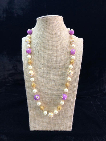 Charming Lilac and Golden Pearls Necklace