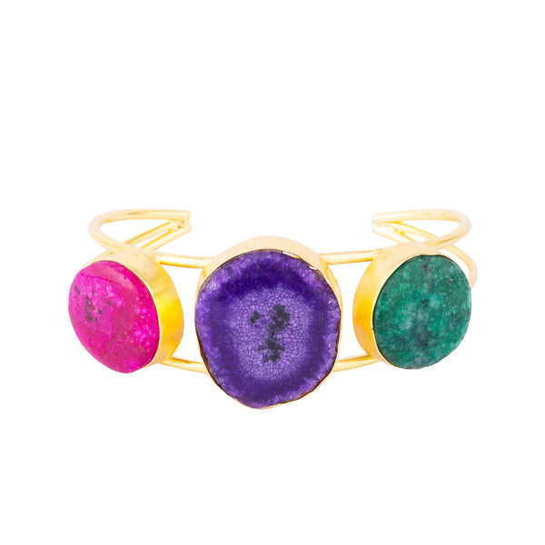 Tricoloured Agate Stones Open Bangle Bracelet