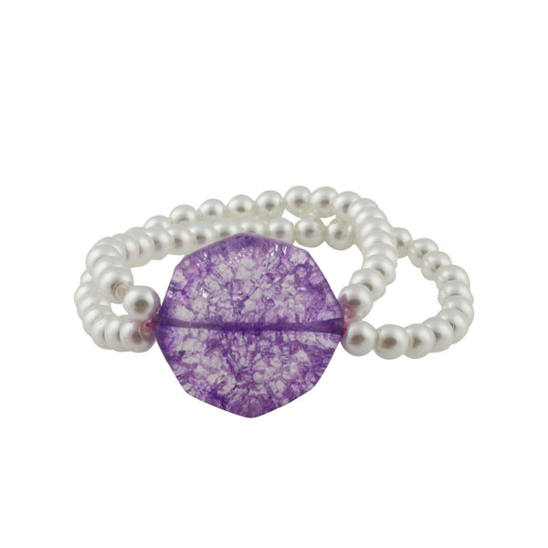 Vibrant Purple Pearl Bracelet - Adjustable Size