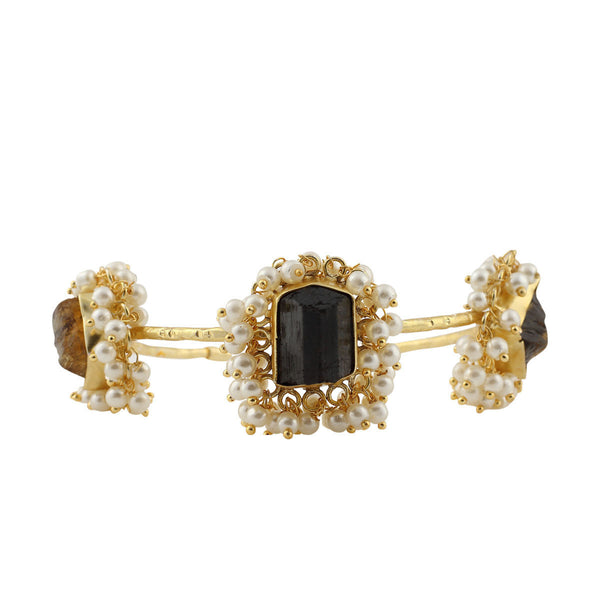 Pearl Showers on Black Quartz Rocks Bracelet - Adjustable Size