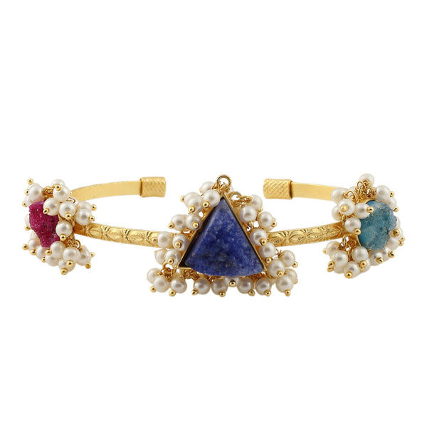 Druzy Quartz Multi-Color Gold Plated Bracelet - Adjustable Size