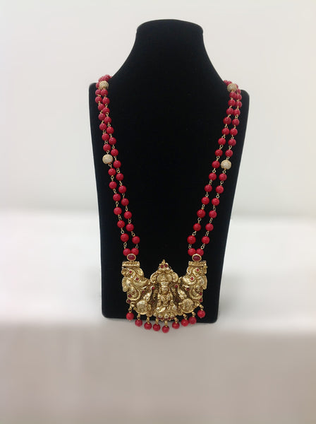 Red Synthetic Coral and  Laxmi Pendent