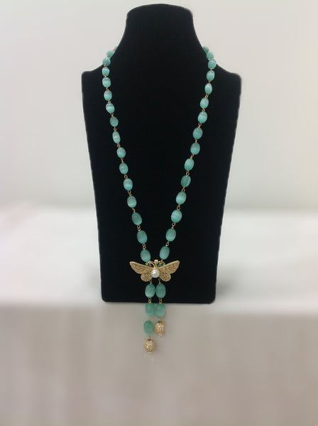 Mint Green and Silver Cubic Zirconia Necklace