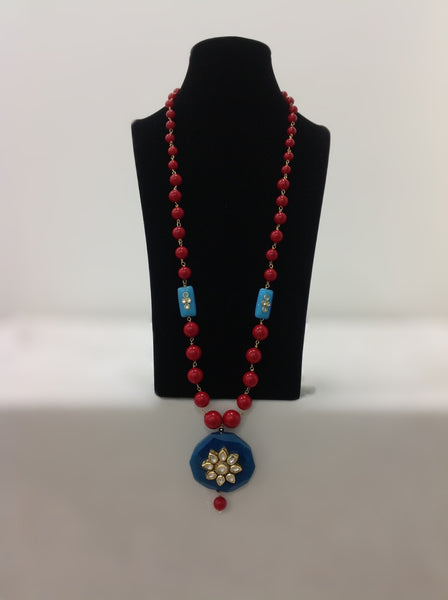 Red Synthetic Coral Beads and Teal Agate Stone