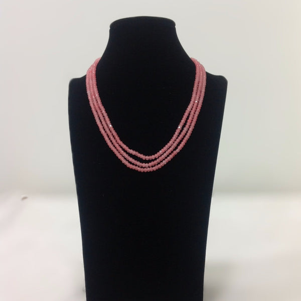 Three Stranded Pink Necklace