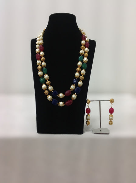 Two Stranded Multicolored Necklace Set