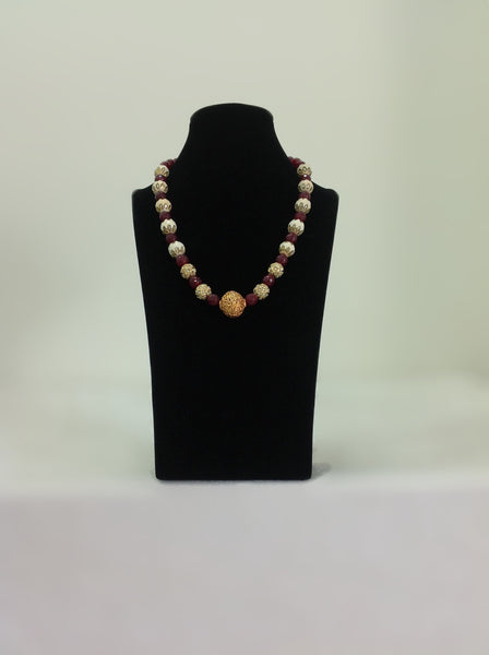 Marron Gemstone with Enamel Beads Necklace