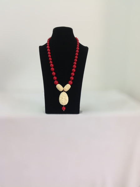 Red Synthetic Coral Beads Necklace