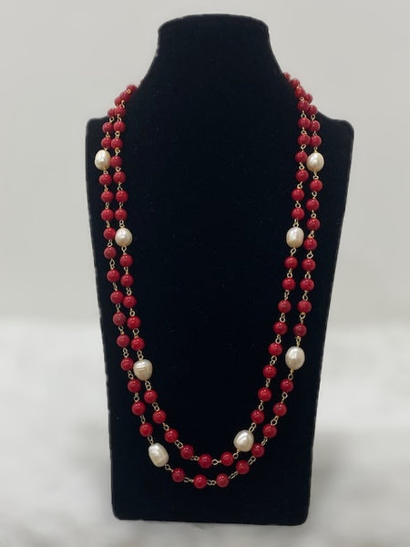 Red Synthetic Coral Beads With Fresh Water Pearl