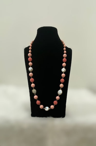 Peach Synthetic Coral Beads Necklace