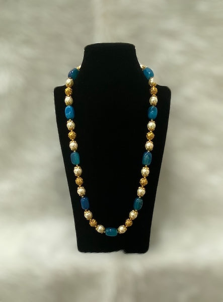 Deep Sky Blue With Shell Pearl Necklace