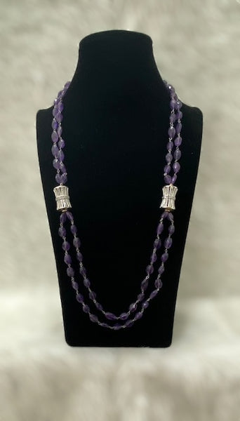 Two Stranded Amethyst With Hexagon Cubic Zirconia Necklace
