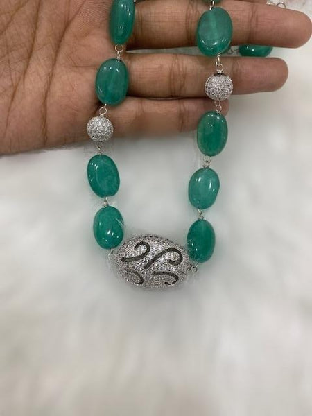 Green Gemstone with Cubic Zirconia Necklace