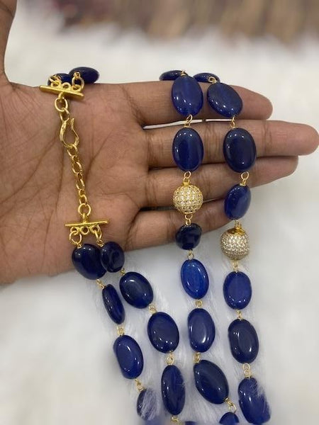 Blue Gemstone With Golden  Cubic  Zirconia Necklace