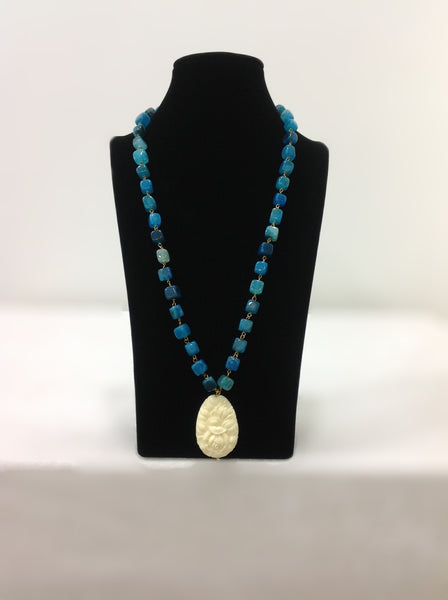 Ocean Blue with Handcarved Pendant Necklace