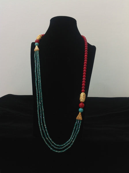 Delightful Candy Red and Aquamarine Green Necklace